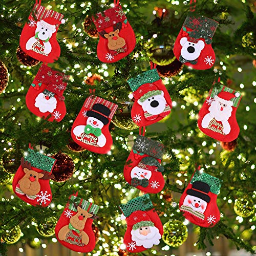 Tatuo 12 Pieces Mini Christmas Stockings, Little Christmas Stockings Gift and Treat Bags Tableware Holders Hanging Socks for Christmas Tree, Home, Garden and Display Window Decoration -
