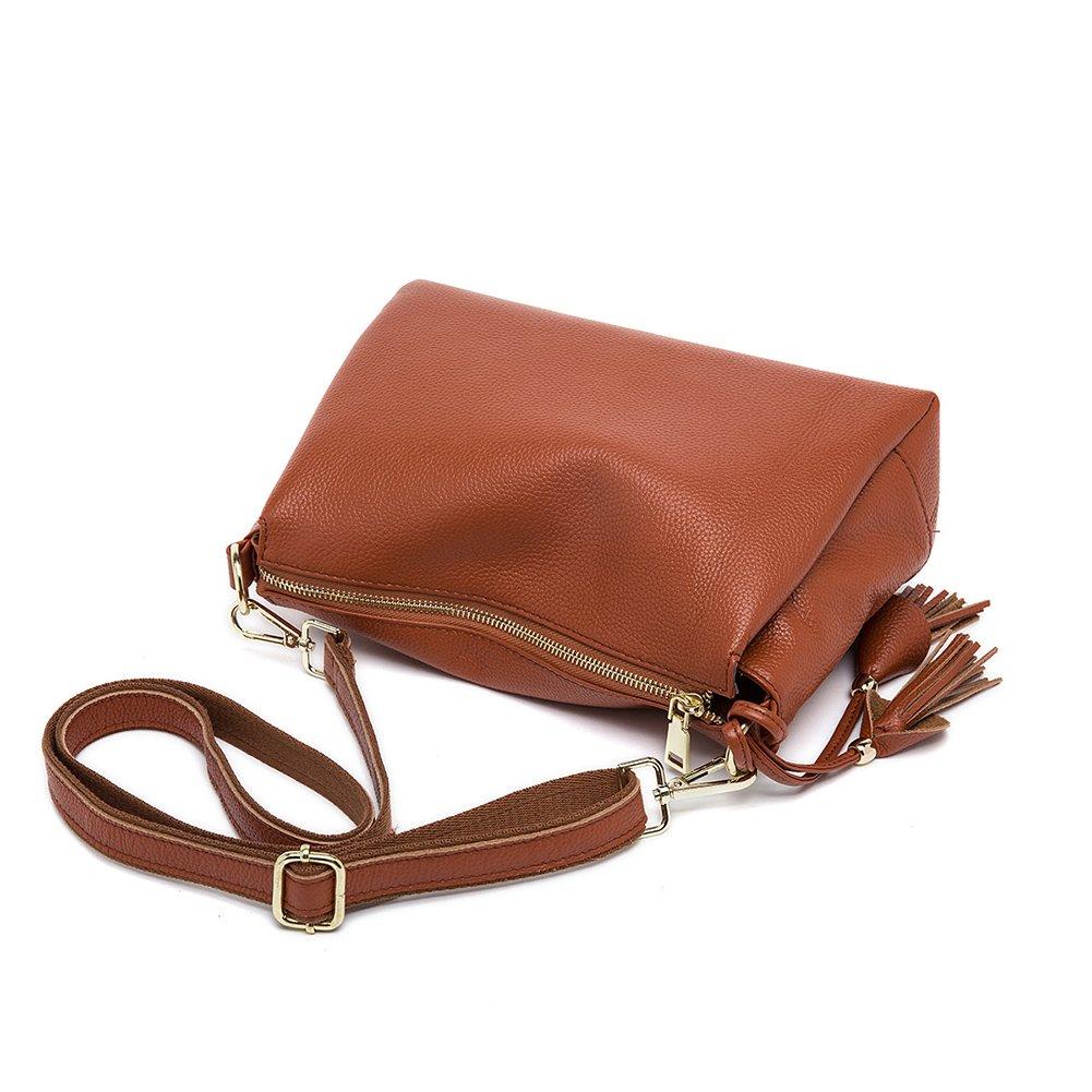 QI WANG Bolso de embrague de cuero genuino para mujeres Bolsos suaves peque/ños Bolso de mensajero de Crossbody Bolsos de hombro de cuero de vaca flexible