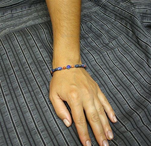 Fst Stone (Fst Shipping* Faceted Blue Lapis Bracelet, Mediterranean Coral Bracelet, Solid Sterling Silver Bracelet)