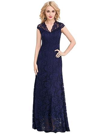 ohyeah Women Floral Lace Long Dress V-neck Solid Maxi Dress Elegant Party Gown