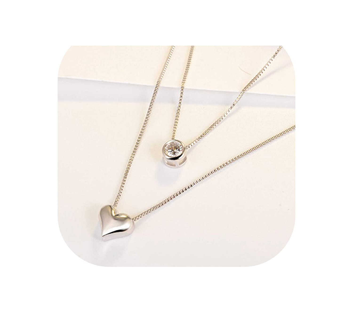 Chibi-Store 925 Sterling Silver Heart-Shaped Double-Layer Necklace Temperament Trend Wild Jewelry GN981