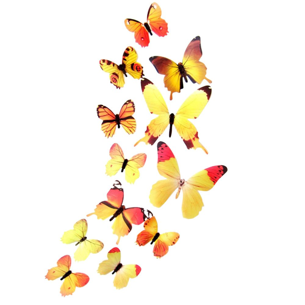 IRENE Wall Stickers Decor 12pcs Decal Home Decorations 3D Butterfly Rainbow Blue (Yellow)