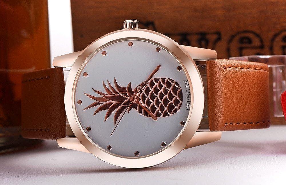 JiaMeng Reloj de Pulsera de Cuarzo analógico de Cuero de imitación de piña para Hombre(Blanco): Amazon.es: Ropa y accesorios