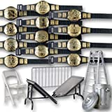 Set of 12 Championship Figure Belts Plus 5 Accessories for WWE Wrestling Action Figures
