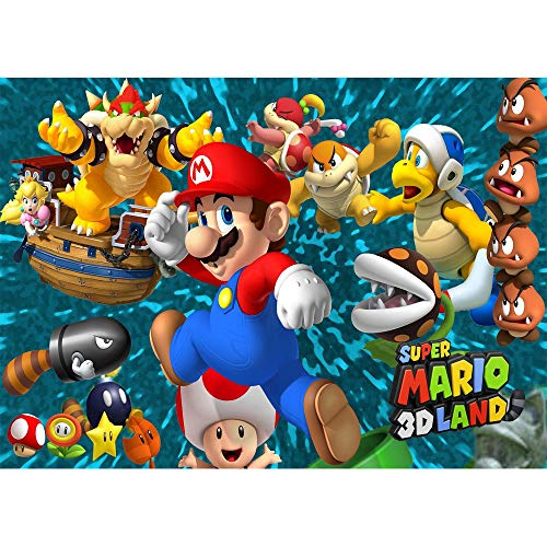 SuperMario Backdrop 7x5 Cartoon Birthday Background Seamless Photography Backdrops Kids Birthday Party Wall Decor Personalized Name Baby Shower Photo Studio Props