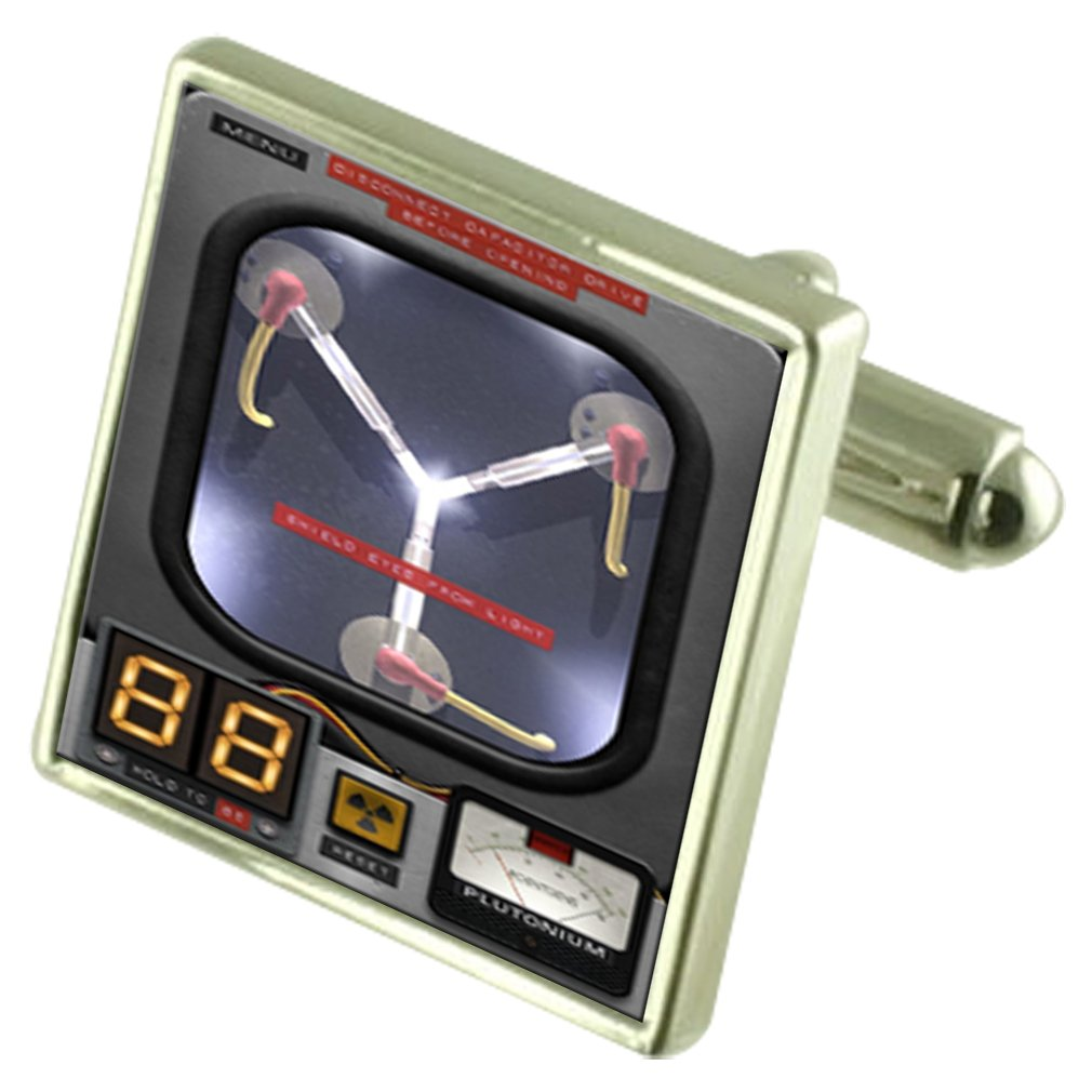 Back Future Time Travel Flux Capacitor Sterling Silver Cufflinks Optional Engraved Box by Select Gifts
