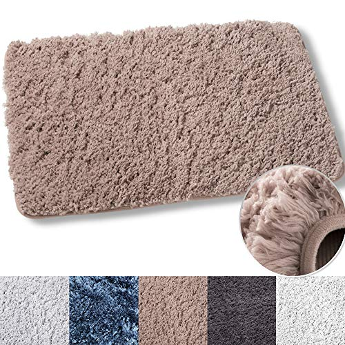 Luxe Rug Brown Plush Bathroom Rugs Bath Shower Mat 20 x 32 Inches w Non Slip Microfiber Super Absorbent Rug Alfombras para Baños (1, Brown) ()