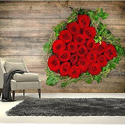 Malilove Los Murales 3D Personalizadas, Rosas Corazón Flores Rojas ...