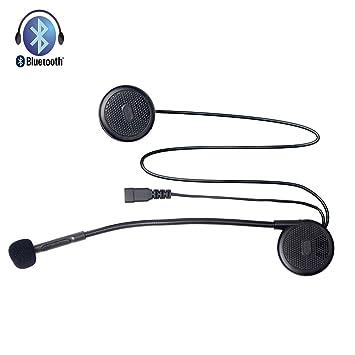 Fodsports Casco de la motocicleta Auricular inalámbrico Bluetooth manos libres para moto de la motocicleta del casco de auriculares micrófono del auricular ...