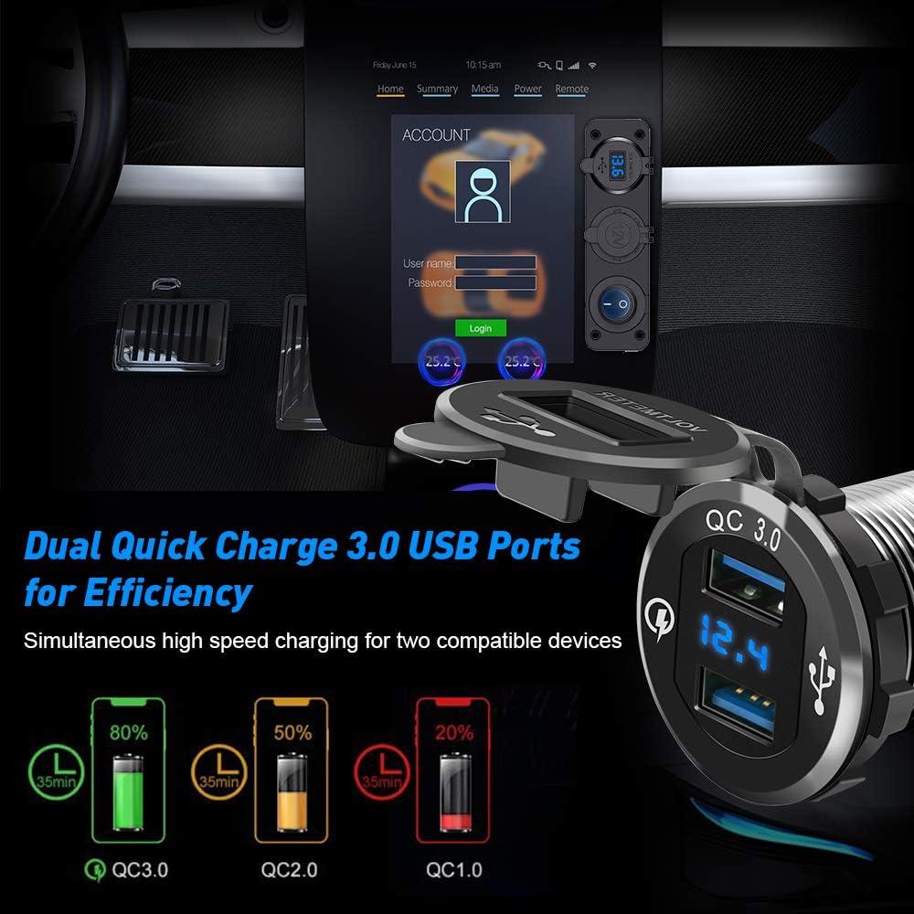 Doppio per presa accendisigari QC3.0 pannello di presa per adattatore di alimentazione per caricabatterie doppio USB impermeabile 12 con doppie porte USB e display a LED per car Boat Marine