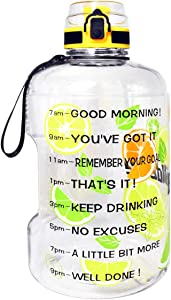 QuiFit Motivational Gallon Water Bottle - with Time Marker & Infuser & Flip Top Leak-Proof Reusable Water Jug for Fitness Outdoor Sports Enthusiasts BPA Free