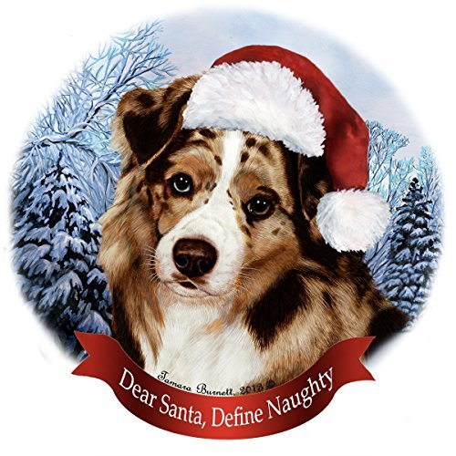 - Holiday Pet Gifts Australian Shepherd Red Merle Santa Hat Dog Porcelain Christmas Tree Ornament