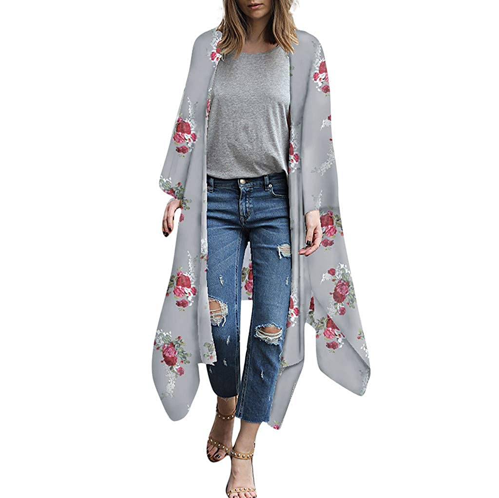 Malloom Damen Florale Kimono Cardigan Strand Chiffon Bluse Tops Bikini Cover up