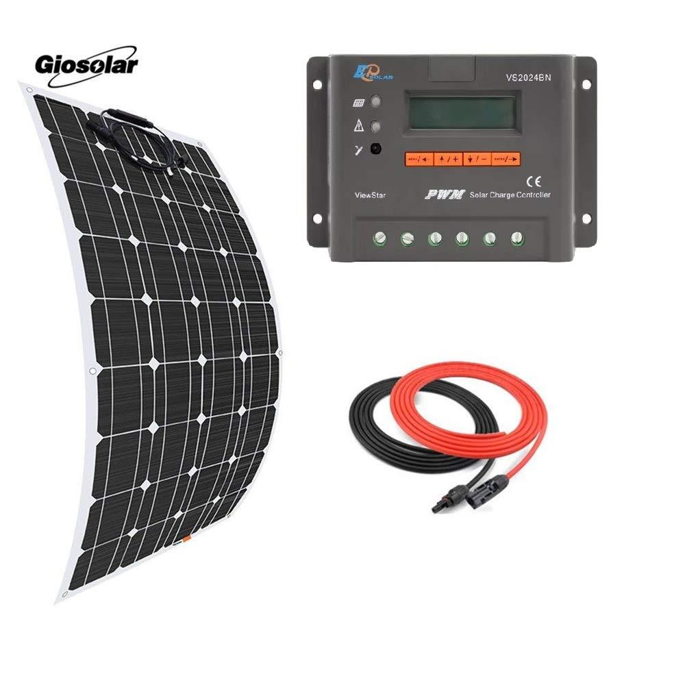 Giosolar Kit Caricatore Pannello Solare monocristallino 100W Flessibile + PWM Epsolar LCD 20A Solar Controller + 5m Cavo Solare per Barche Camper roulotte off-Grid sistemi