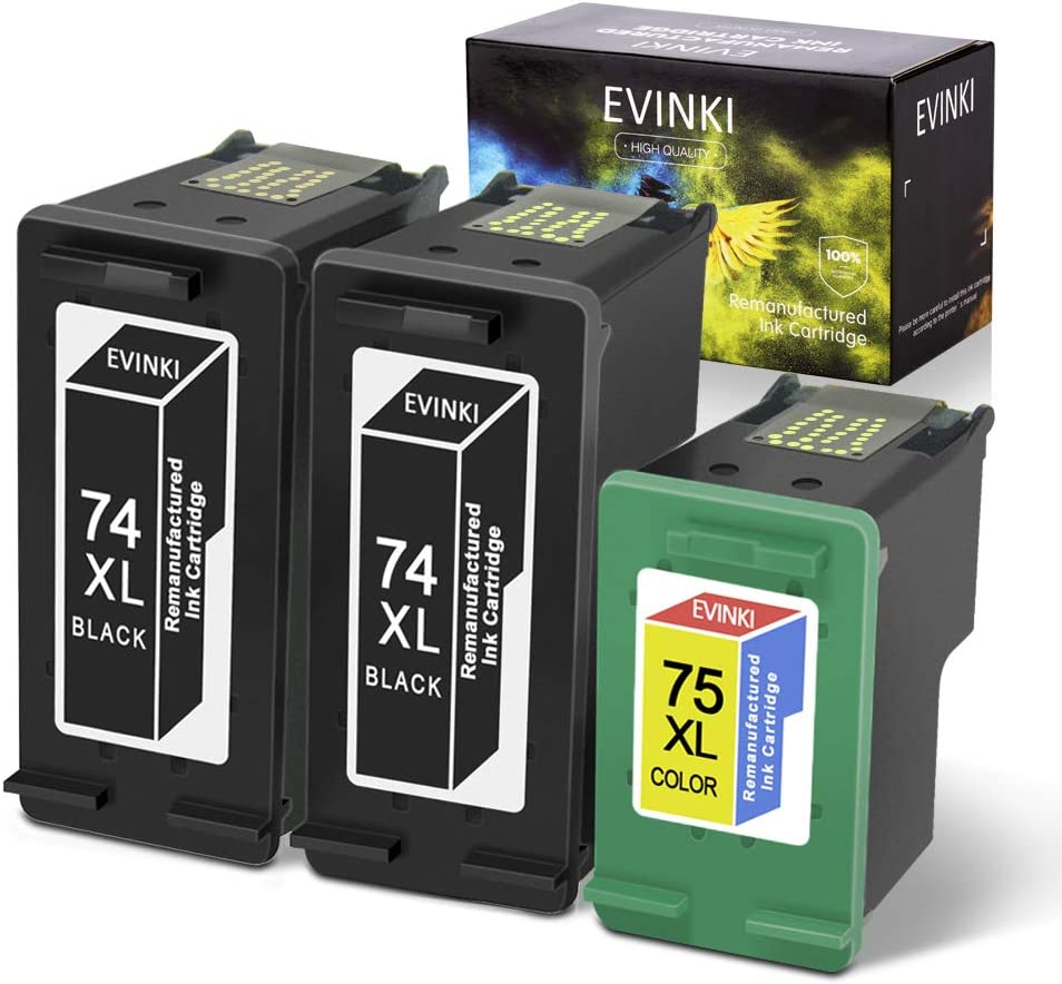 EVINKI Remanufactured High Yield Ink Cartridges Replacement for HP 74XL 74 XL & 75XL 75 XL Used in HP Officejet J6480 J5780 Photosmart C4280 C5580 C5550 CB336WN CB338WN (2 Black, 1 Tri-Color) 3 Pack