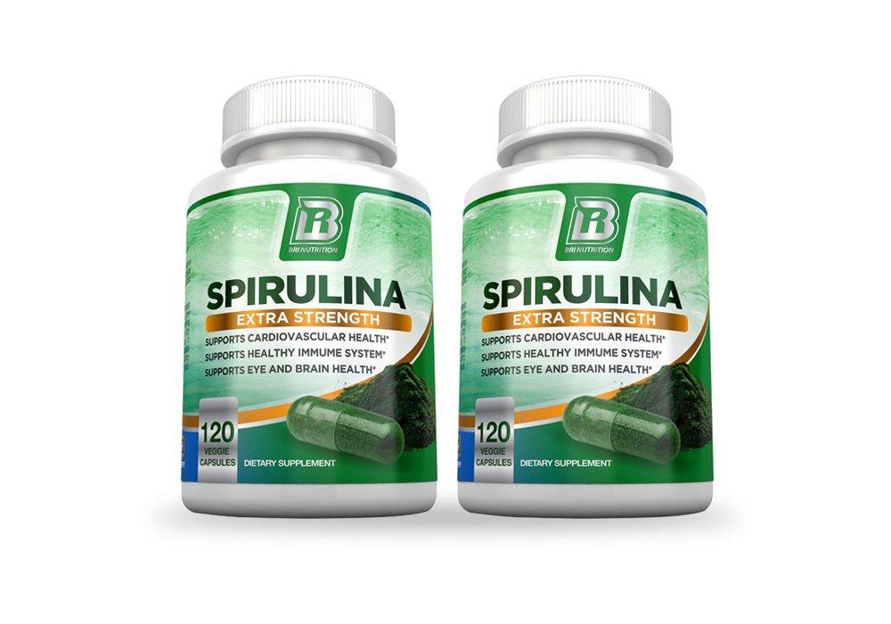 BRI Nutrition Spirulina - 2000mg Maximum Strength Supplement - 2-Pack
