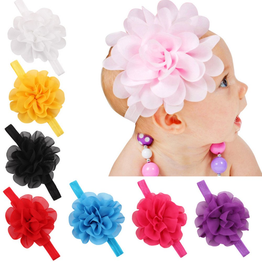 Baby Girl's Headbands Chiffon Hair Bow Elastic Hair Accessories Flower(8 pack) Wellwear