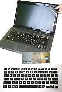 US Layout Keyboard Skin Cover + 11.6'' Anti Glare Screen Protector for Dell Inspiron 11-3162 11-3168 11-3169 11-3179 11-3180 11-3185 11-3195 i3168 i3169 i3179 i3195 with BingoBuy Card Case (Black)
