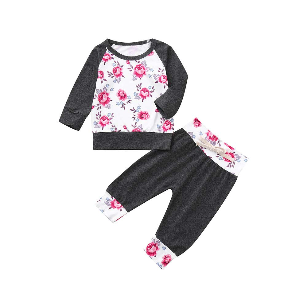 LIKESIDE Infant Baby Girl Boy Floral T Shirt Tops Pants 2PCS Outfits Clothes Set