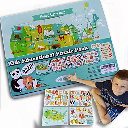 4-in-1 Childrens Educational Puzzle Pack by WEGGA Toys - Numbers Alphabet US Map, Toddler Kids Puzzles Age 3, 4, 5, Perfect for Classroom Preschool Early Learning, Safety Inspected, 15 Pieces Each ()