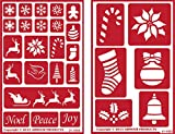 Over 'n' Over Reusable Self-Stick Etching Stencil for Glass (or Stamping) - Bundle of Two Sets - Holiday Baubles & Christmas 2