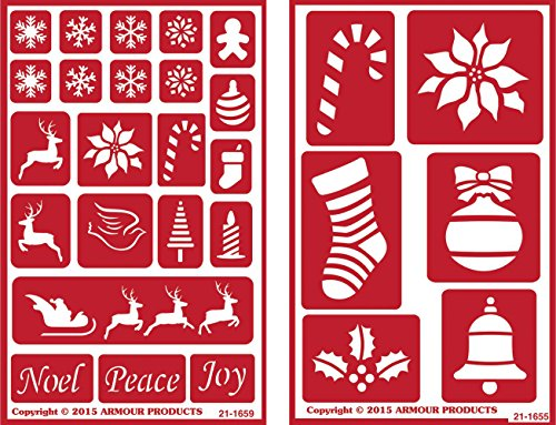 Over 'n' Over Reusable Self-Stick Etching Stencil for Glass (or Stamping) - Bundle of Two Sets - Holiday Baubles & Christmas 2 by Over n Over