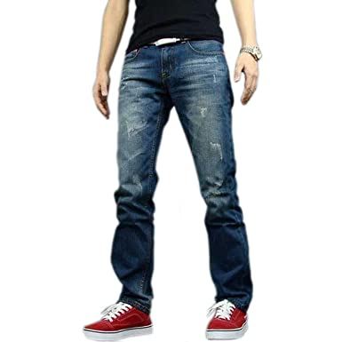b3e5274a837 Newfacelook Mens Jeans Ripped Fashion Denim Jeans Pants Blue F005 W30 L30