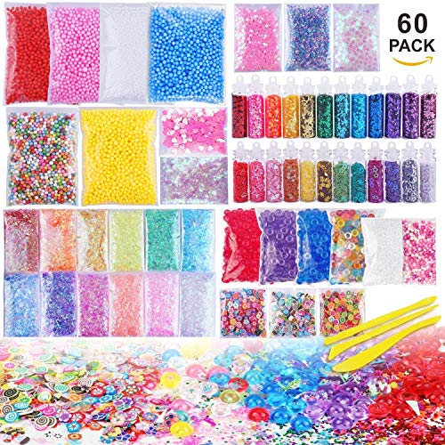 Slime Supplies Kit, 60 Pack Slime Beads Charms Include Floam Beads, Fishbowl Beads, Glitter Jars, Fruit Slices, Rainbow Pearl, Colorful Sugar Paper Accessories, Slime Tools for Slime Making DIY Craft by JVIGUE