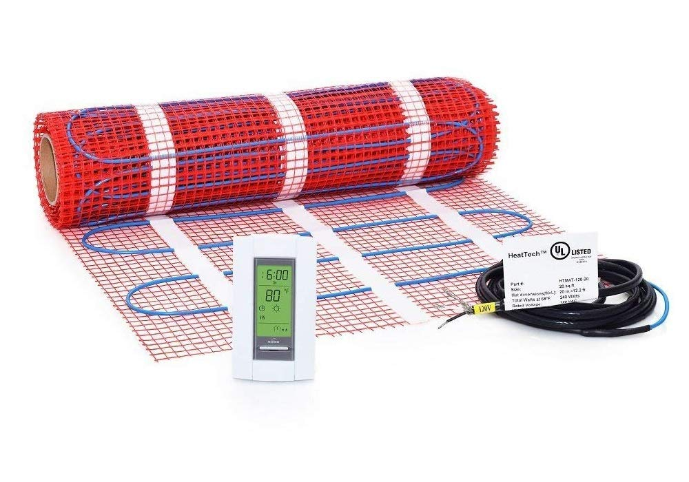 25 sqft, 120V Heattech Electric Radiant Floor Heating Mat In-floor Tile Stone Heating with Adhesive Backing, Sticky Mesh + AUBE TH115-AF-120S radiant floor sensing thermostat with floor sensor