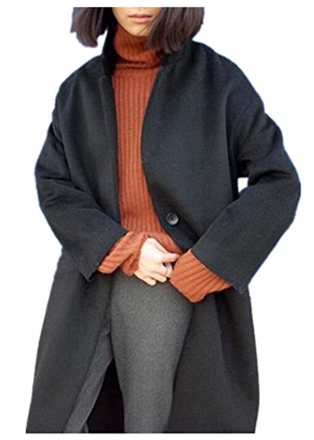 ForeMode Women Winter Single-Breasted Long Wool Coat(Black M)