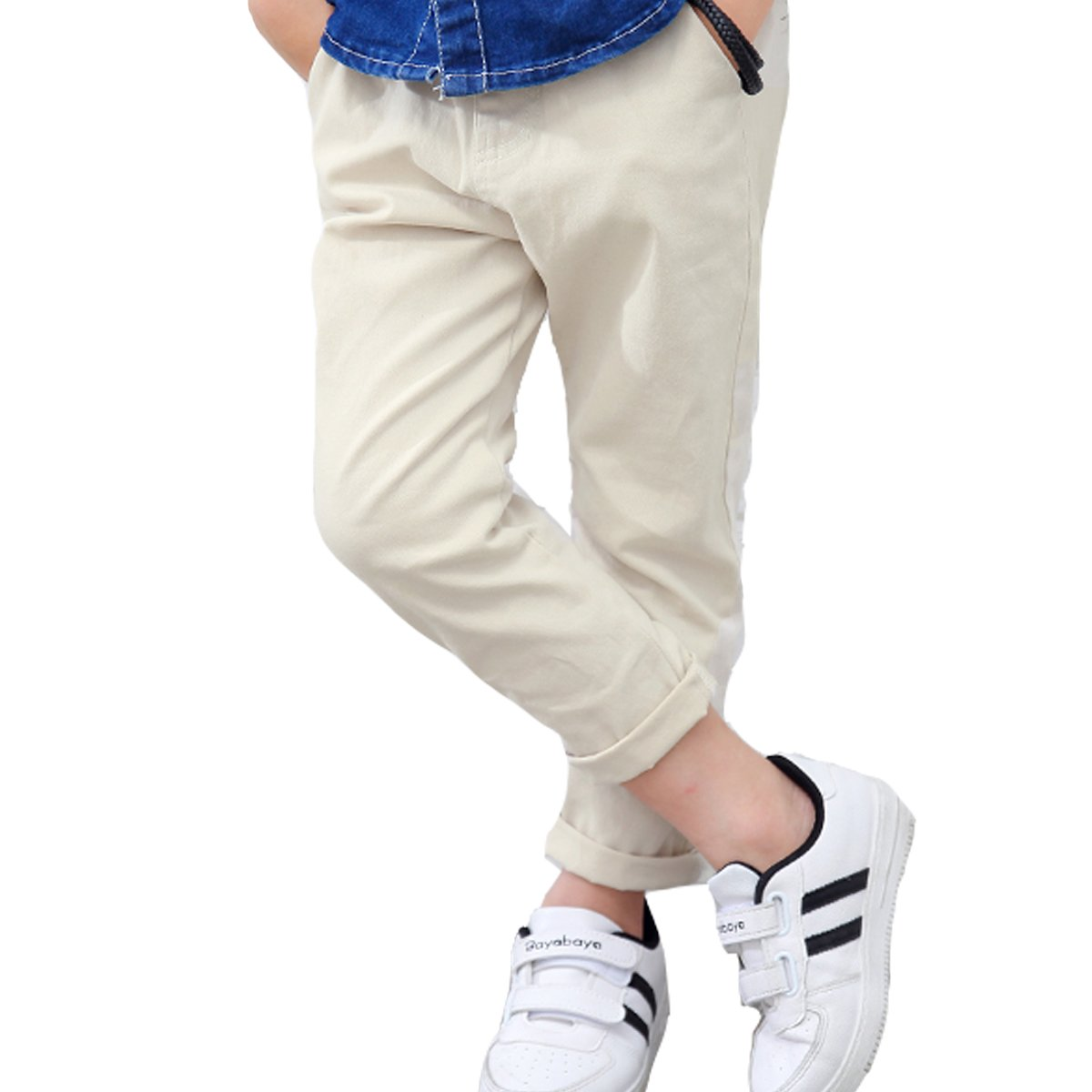 NABER Kids Boys' Elastic Waist Casual Pants Slim Fit Trousers Size 3-13 Years (Creamy-White, 4-5 Years)