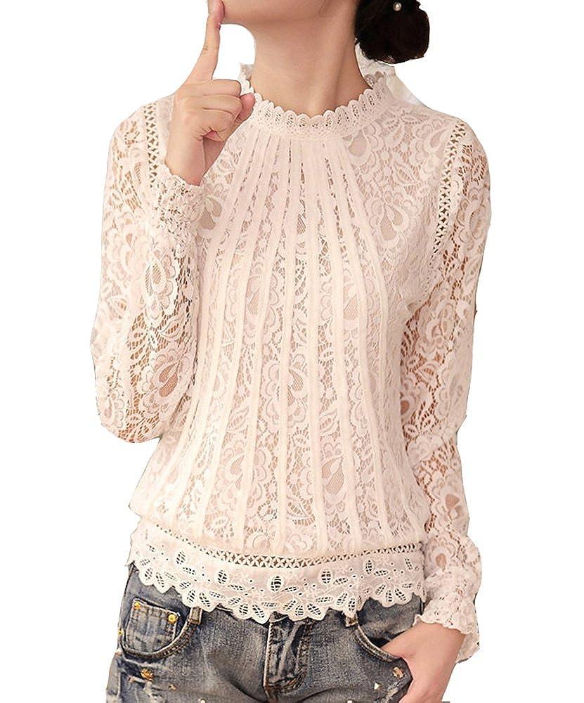 Cheerlife Elegant Damen T-Shirt Spitze Langarmshirt/Kurzarmshirt Spitzenshirt Top Bluse Shirt Tunika Hemd