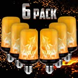 LED Yellow Fire Flame Effect Light Bulbs Silver Case, 6W E26/E27 Simulated Flames, 4 Mode Types Flickering Light Bulbs for Vi