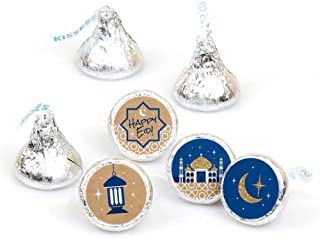 product image for Ramadan - Eid Mubarak Round Candy Sticker Favors - Labels Fit Hershey's Kisses (1 Sheet of 108)