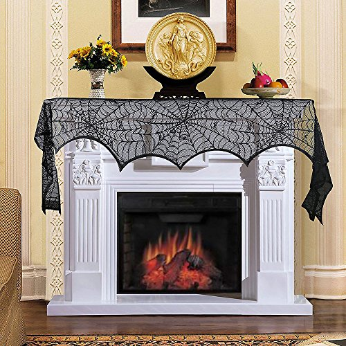 18 x 96 Inch Halloween Decoration Spider Web Valance Mantel Fireplace Scarf Door Window Lace Cobweb Mantle Scarf Table Runner Festive Party Supplies -