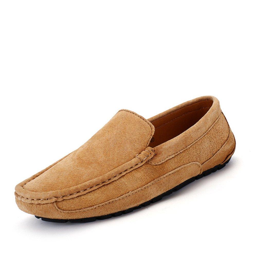 Sunny&Baby Conducción de los hombres Mocasines Penny Trabajo hecho a mano Sutura Gamuza Cuero genuino Mocasines Zapatos de barco Antideslizante (Color : Marrón, tamaño : 44 EU) 44 EU|Marrón
