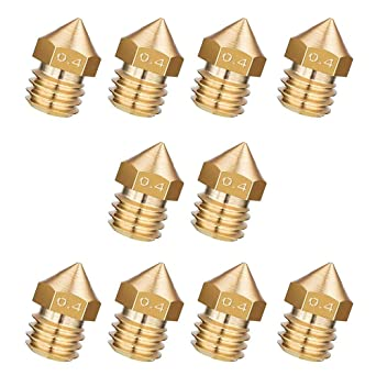 NACTECH 10 piezas MK8 Boquilla Extrusora 0.4 mm Boquillas Nozzle ...