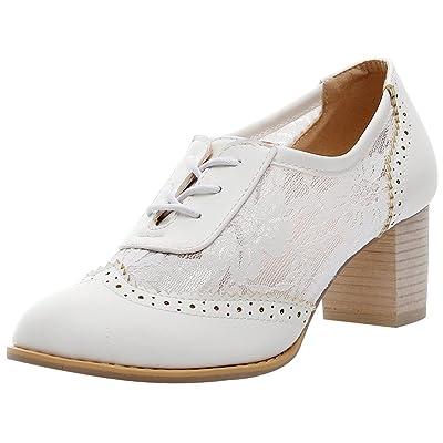 ANUFER Womens Elegant Lace Bridal Wedding Shoes Block Heel Oxfords Dress Shoes | Pumps