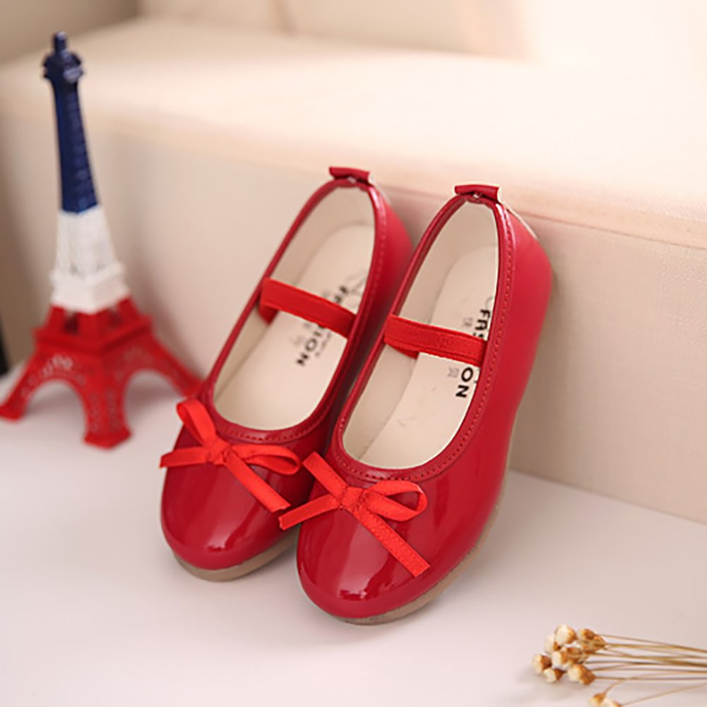LANXI Girls Bowknot Flat Girls Dress Shoes Mary Jane Shoes Ballet