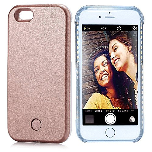 Vanjunn Selfie LED Light Case For Iphone 6 /6s - Led Cell Phone Case with Rechargeable Backup Rose gold
