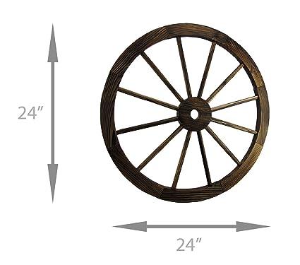 Zeckos 24 Inch Diameter Wooden Wagon Wheel Decorative Wall Hanging Baby Amazon Com