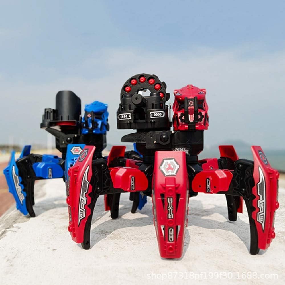 HBBOOI Fernsteuerungsroboter Dual-Waffe intelligente Kampf sechsbeiniger Roboter-Spielzeug 2.4G Multi Terrain-Spielzeug for Kinder Spielzeug (Color : Rot) Rot