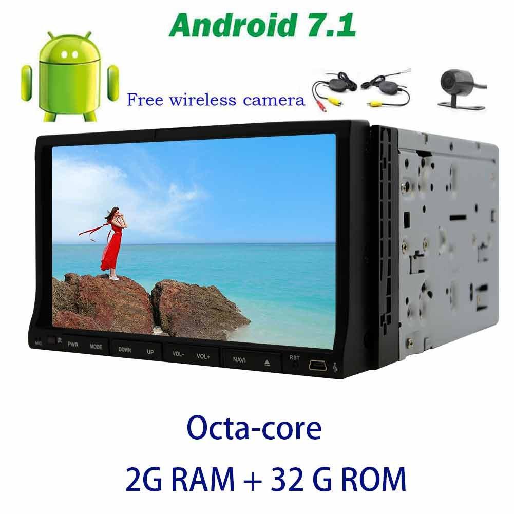 7インチのアンドロイド7.1 GPSカーステレオオクタコアダブルDINスライド式マルチタッチスクリーンをサポートOBD2、DAB +、デジタルTV、DVR +ワイヤレスバックアップカメラとカーDVDプレーヤー、オンボードコンピューター B0778MRD66