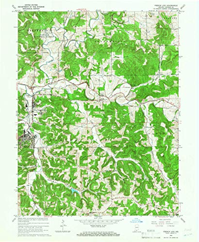 YellowMaps French Lick in topo map, 1:24000 Scale, 7.5 X 7.5 Minute, Historical, 1965, Updated 1973, 26.9 x 22.1 in - Paper
