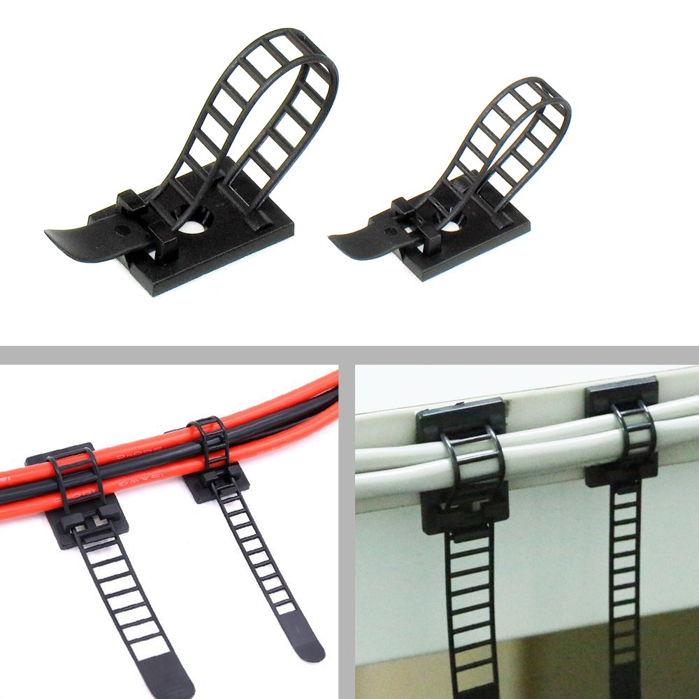 URBEST Adjustable Self-Adhesive Nylon Cable Straps Cable Ties Cord Clamp for Wire Management, 2 Size
