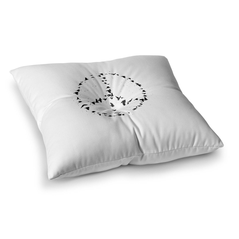 Kess InHouse BarmalisiRTB Peace Black White Digital 23 x 23 Square Floor Pillow