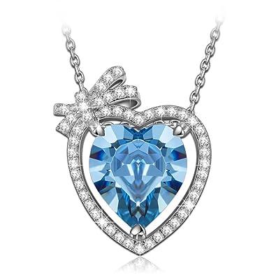 4850e3157 NINASUN Aquamarine Stone Heart Necklace 925 Sterling Silver Gifts for Women  Fallen in Love Pendant Swarovski