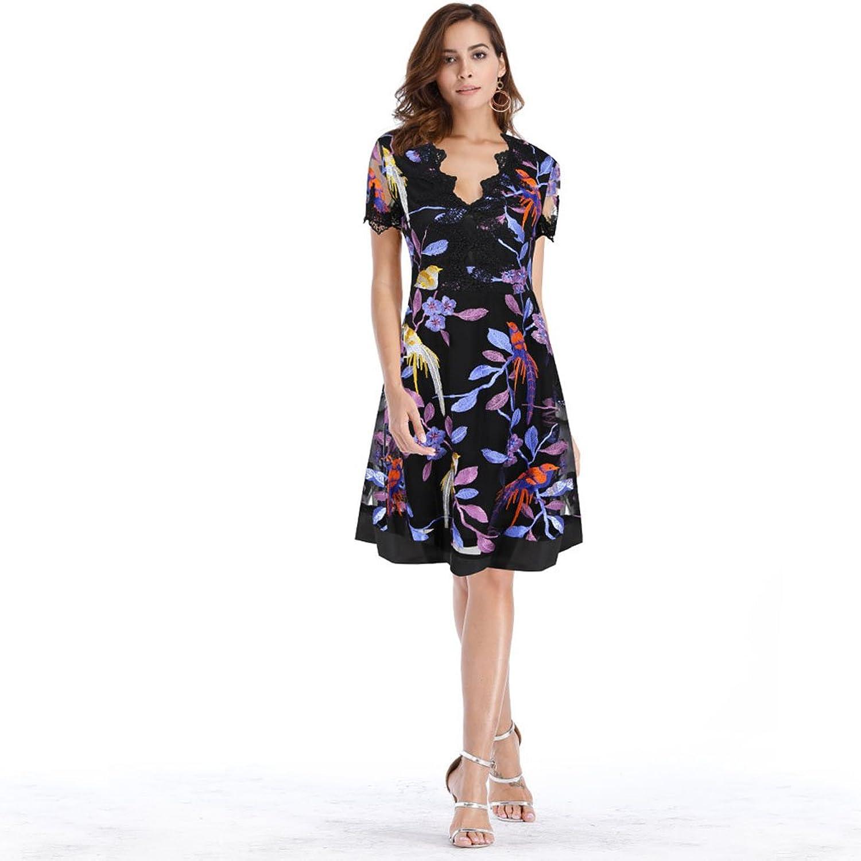 Kleid der Frau Kleid der Frauen A-Line Stickerei tiefe V-Kragen ...