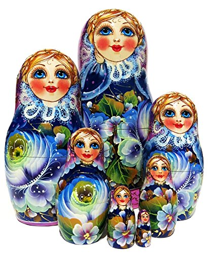 9'' Tall Rare Beauty 7 Piece Russian Nesting Doll Babushka Stacking Toy - Exclusive GreatRussianGifts Matryoshka Original Work of Art by GreatRussianGifts