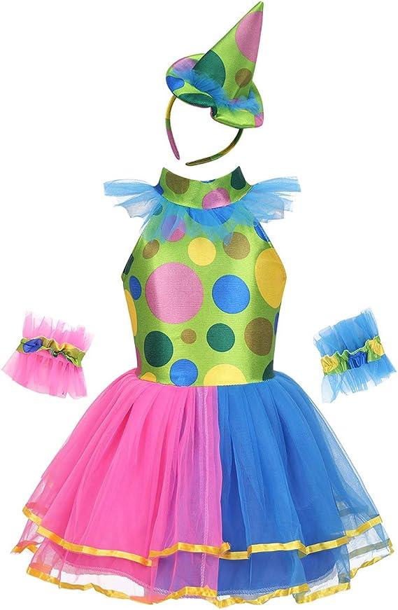 IEFIEL Disfraz Bailarina Niña Vestido en Tutú Princesa Payaso ...